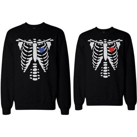 Pinterest Skeleton Couple Sweatshirts Halloween Matching Sweaters Fleece for... ($49) ❤ liked on Polyvore featuri…   Couples sweatshirts, Halloween sweater, Matching sweaters