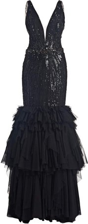 Jenny Packham Ruffled Sequined Trumpet Dress
