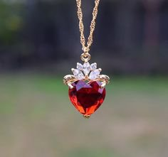 Pinterest - Crown heart necklace queen necklace pendant necklace   Etsy   Women Jewelry Accessories