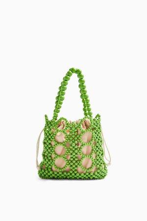 Green Beaded Mini Grab Bag   Topshop