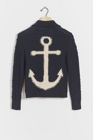 Anchors Away! Cable-Knit Cardigan | Anthropologie