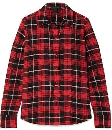 Plaid Silk Crepe De Chine Shirt - Red