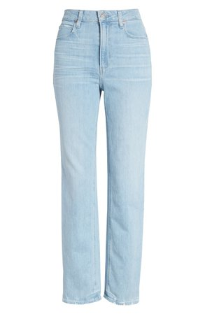 PAIGE Noella High Waist Straight Leg Jeans (Duet)   blue