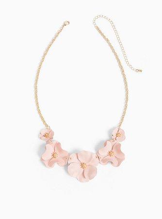 Plus Size - Gold-Tone & Pink Matte Floral Statement Necklace - Torrid