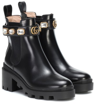 Embellished Leather Ankle Boots | Gucci - Mytheresa