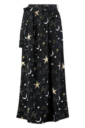 Petite Celestial Print Wrap Beach Maxi Skirt | Boohoo
