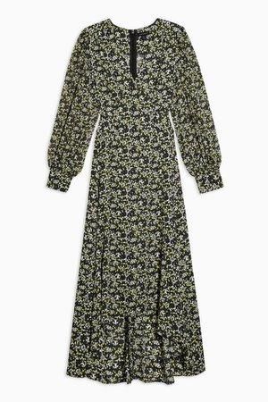 IDOL Green Neck Midi floral Dress | Topshop