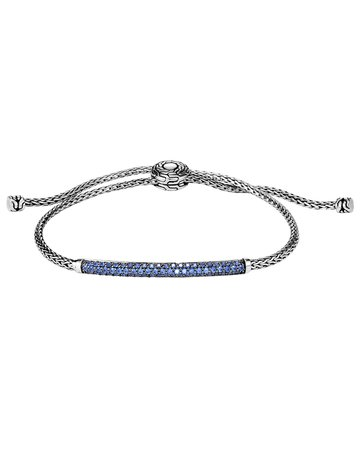 John Hardy Classic Chain Pull-Through Bracelet w/ Blue Sapphire | Neiman Marcus