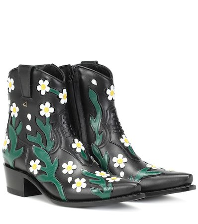 Valentino Garavani Ranch Flowers 40 leather ankle boots
