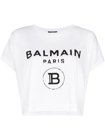 Balmain Logo Print Boxy-Fit T-Shirt | Farfetch.com