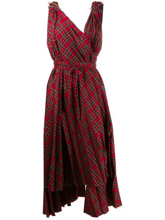A.W.A.K.E. Mode Checked Asymmetric Flared Dress - Farfetch