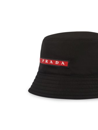 Shop black Prada technical fabric hat with Express Delivery - Farfetch