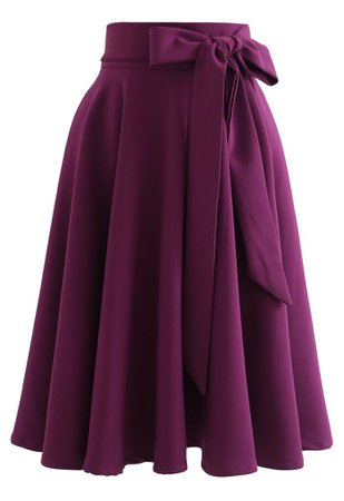 Flare Hem Bowknot Waist Midi Skirt in Plum - Retro, Indie and Unique Fashion