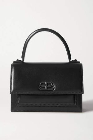 Sharp Mini Leather Tote - Black