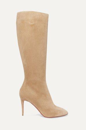 Eloise 85 Suede Knee Boots - Beige