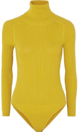 L.F.Markey - Axel Ribbed Stretch-cotton Jersey Turtleneck Bodysuit - Mustard