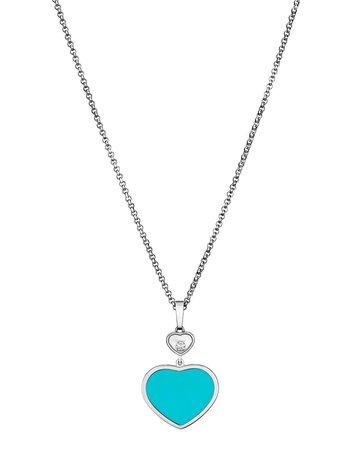 "Chopard 44"" Happy Hearts 18k Turquoise & Diamond Long Pendant Necklace"