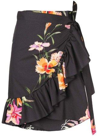 floral print wrap skirt