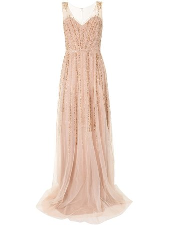 Marchesa Notte Sequin Sleeveless Tulle Gown - Farfetch