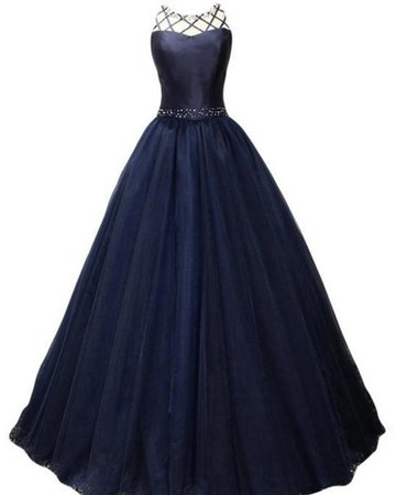 Buy navy blue pleated high neck beading ball gown