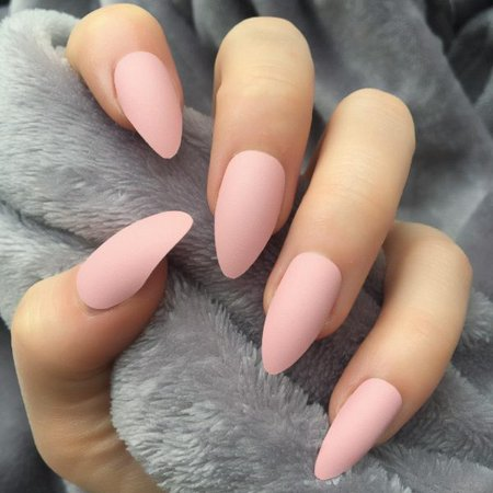 Baby Pink Matte Almond – Doobys Nails