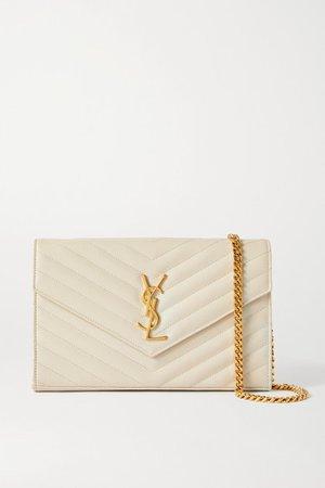 Envelope Textured-leather Shoulder Bag - Off-white