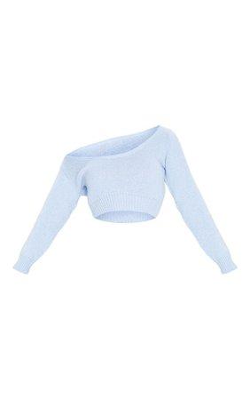 Blue V Neck Off Shoulder Knitted Cropped Jumper | PrettyLittleThing