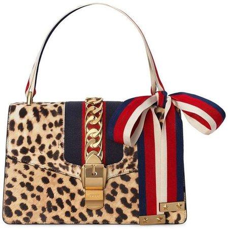 Sylvie shoulder bag with leopard print