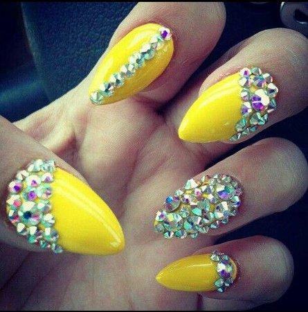 yellow jeweled nails - Google Search