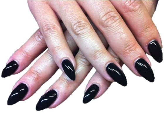 black acrylic stiletto nails