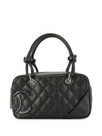 Shop black Chanel Pre-Owned 2006 Cambon diamond quilted CC tote with Express Delivery - Farfetch