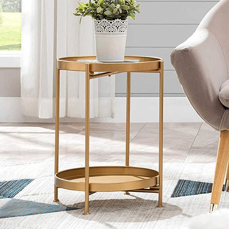 "Amazon.com: Small Round Table Metal Tray Side Table with Storage Gold Modern Nightstand for Living Room Bedroom14""Dx20""H: Kitchen & Dining"