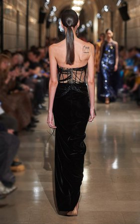 Exposed Corset Velvet Strapless Gown By Oscar De La Renta | Moda Operandi
