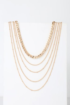 Cute Gold Necklace - Chain Necklace - Gold Layered Necklace