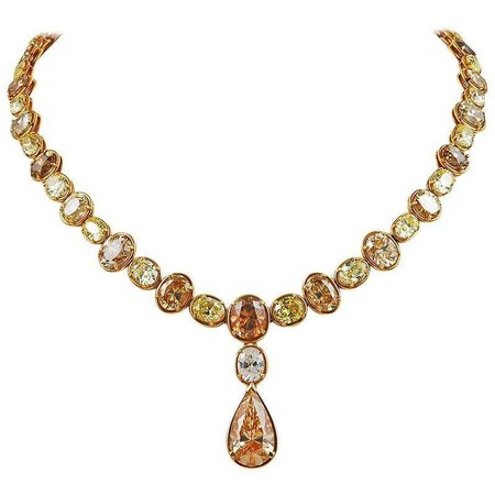 Cartier Colored Diamond Necklace For Sale at 1stDibs