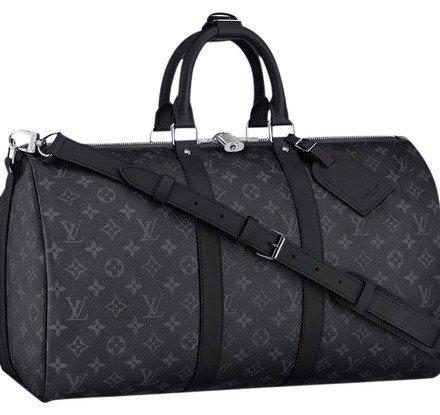 Louis Vuitton Keepall Bandouliere Black Grey Mono Eclipse Canvas Weekend/Travel Bag - Tradesy