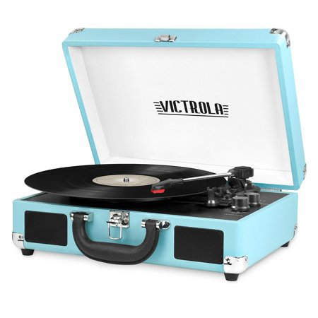 Victrola Bluetooth Portable Suitcase Record Player with 3-speed Turntable, Turquoise - VSC-550BT-TQ - Walmart.com