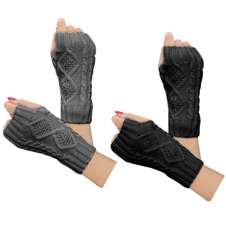 2 pairs women winter warm knit gloves