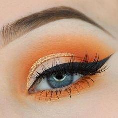 Cute Orange Eye Makeup
