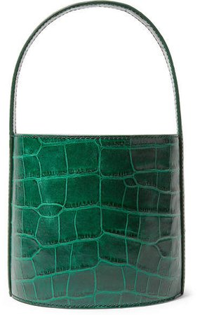 STAUD - Bissett Croc-effect Leather Bucket Bag - Dark green