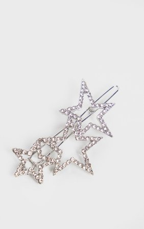 SILVER DIAMANTE STAR CLUSTER HAIR SLIDE