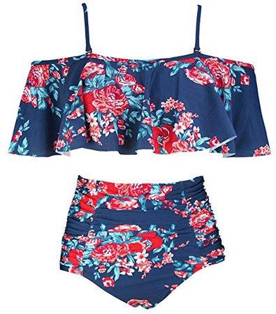COCOSHIP Red Pink & Navy Blue Antigua Floral Ruffled Bikini Set Flounce Falbala Top Ruched High Waist Bathing Cruise Suit Swimwear 14: Clothing