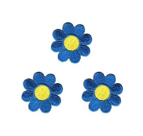 Lot of 3 Daisy Blue with Yellow Center Embroidered Iron On   Etsy