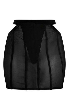 Black Mesh Piped Mini Skirt | Co-Ords | PrettyLittleThing USA
