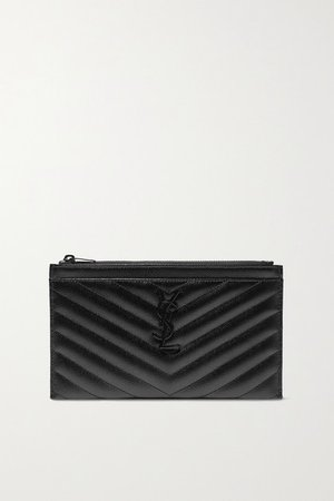 SAINT LAURENT | Monogramme quilted textured-leather pouch | NET-A-PORTER.COM
