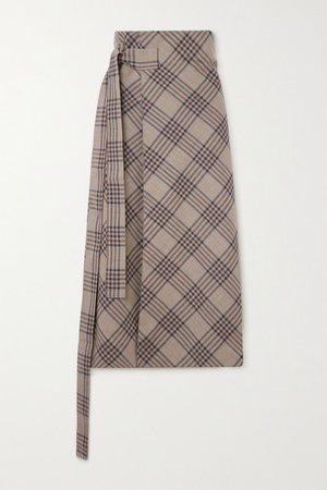 Checked Merino Wool Wrap Midi Skirt - Beige