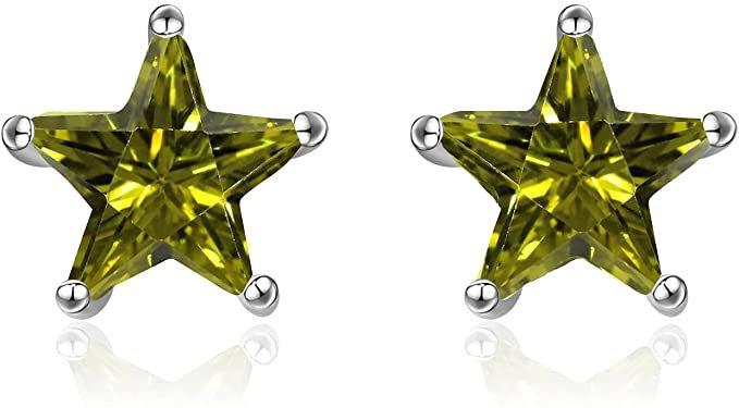 Amazon.com: POPLYKE Sterling Silver Green Cubic Zirconia Star Earrings Star Stud Earring for Women Girl: Clothing