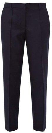 Roxanne Felted Wool Straight Leg Trousers - Womens - Navy