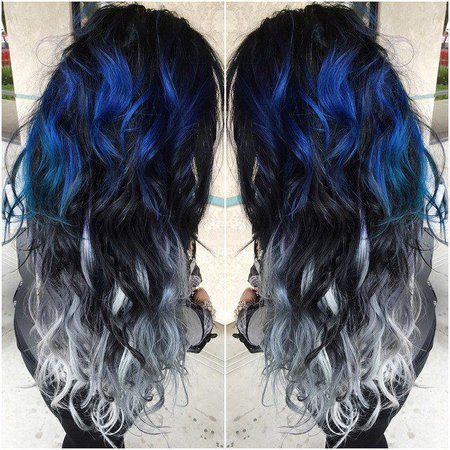 Blue and Silver Ombre Hair
