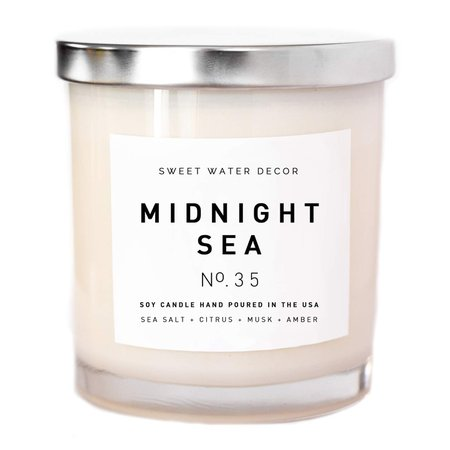 Amazon.com: Midnight Sea Natural Soy Wax Candle White Jar Summer Scented Sea Salt Citrus Musk Amber Spa Scented Made in USA Lead Free Cotton Wicks Modern Farmhouse Home Decor Bathroom Accessories Gift For Her: Handmade